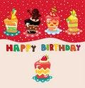 Free Cartoon Cake Birthday Card Stock Photos - 20453373