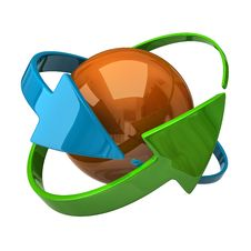 Orange Sphere And Arrows Stock Photography