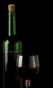 Glass Of Red Wine Isolated On Black Royalty Free Stock Image
