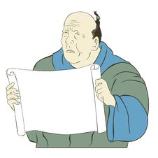 Free Asian Japanese Old Man Blank Paper Scroll Stock Images - 20452604