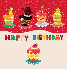 Free Cartoon Cake Birthday Card Stock Photos - 20453373
