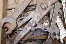 Old Tools In Wooden Box Stock Photography