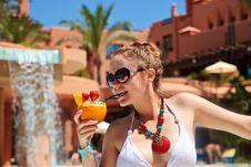 Beautiful Woman In Bikini Holding Cocktail Stock Image