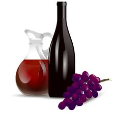 Free Red Wine Boottle And Grape Royalty Free Stock Photography - 20456087