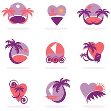 Free Travel Icons Collection Vacation Royalty Free Stock Photography - 20456477