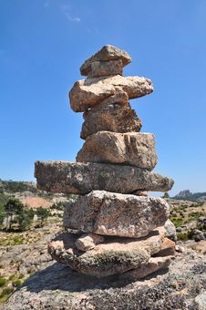 Cairn On Blue Sky Royalty Free Stock Photo