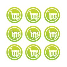 Free Green Shopping Baskets Signs Royalty Free Stock Photo - 20458565