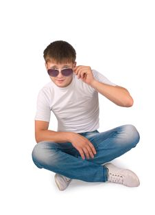 Free Guy Sitting On A Floor Royalty Free Stock Photography - 20459467