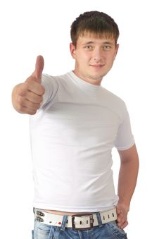 Free Guy Who Has Lifted A Thumb Upwards Stock Images - 20459484