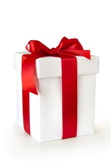 Free Gift Box With Red Ribbon Royalty Free Stock Photography - 20459517