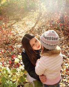 Free Two Sisters In Autumn Forest Stock Images - 20459704
