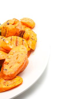 Free Grilled Carrot On а Plate Stock Photos - 20459863