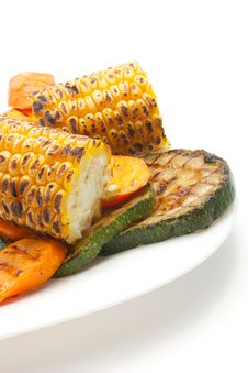 Grilled Carrot, Corn And Zucchini On а Plate Royalty Free Stock Photography