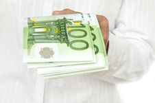Euro In Hand Of Women Royalty Free Stock Photography