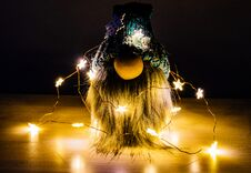 Free Bearded Dwarf With Christmas Lights Royalty Free Stock Image - 204594116