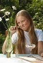 Free The Girl Eats  Yogurt Royalty Free Stock Photo - 20460295