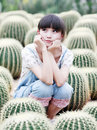 Free Asia Girl In Cactus Field Stock Photos - 20467733