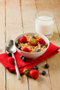 Free Corn Flakes With Berries On Wooden Table Royalty Free Stock Images - 20469319