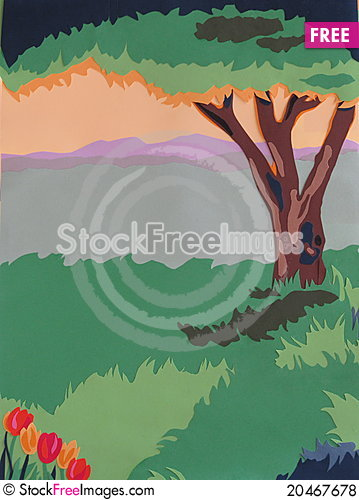Yesteryear Summer, Trees and Tulips Jeansscenes Stock Photo
