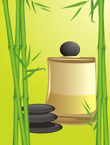 Free Green Bamboo, Black Stones And Spa Oil Royalty Free Stock Photos - 20460348