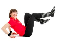 Free Happy Young Woman Makes Fitness Exersises Stock Image - 20460761