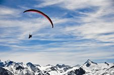 Free Man On Parachute In Mountains Stock Image - 20461511