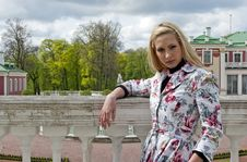 Free Blonde Girl Standing Of An Old Palace Royalty Free Stock Photos - 20461568