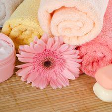 Pink Gerbera And A Towel Stock Photography