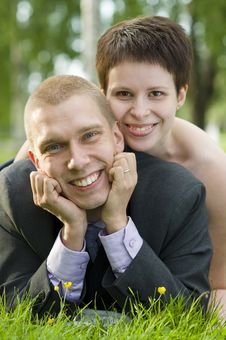 Free Portrait Of Young Couple In The Park Stock Photo - 20462030