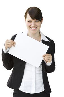 Happy Young Woman Holding An Empty Whiteboard Royalty Free Stock Photo