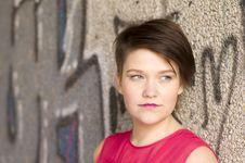 Free Young Woman Next To Graffiti Wall Stock Photo - 20462210