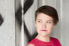 Free Young Woman Standing Next To Graffiti Wall Stock Images - 20462214