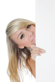 Free Woman Holding A Blank Billboard Royalty Free Stock Photos - 20462268