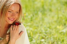 Free Woman Playing With A Butterfly Stock Image - 20462301