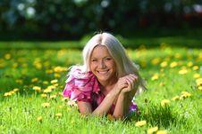 Free Girl On Dandelion Field Stock Photos - 20462353