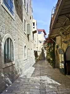 Narrow Street In Jerusalem, Israel Stock Images