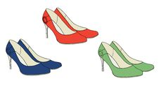 Free Bright Shoes With Heels  Vector Royalty Free Stock Images - 20464029