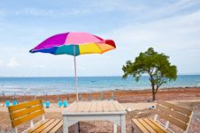 Free Beach Chair And Colorful Umbrella At  On The Beach Stock Photos - 20466303