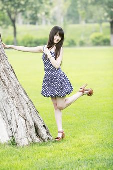 Asia Girl Relaxing Outdoor Royalty Free Stock Photo