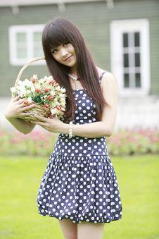 Asian Model Posing Outdoor Stock Photo