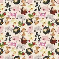 Free Cartoon Animal Seamless Pattern Royalty Free Stock Photo - 20469365