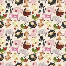 Cartoon Animal Seamless Pattern Royalty Free Stock Photo