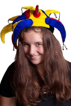 Free Girl In Clown Hat Royalty Free Stock Photo - 20469705