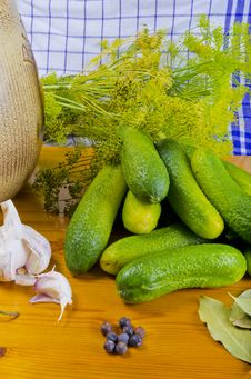 Polish Garlic Cucumbers (ingredients) Stock Photos