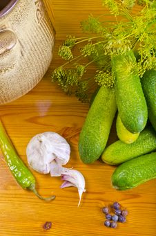 Polish Garlic Cucumbers (ingredients) Stock Images