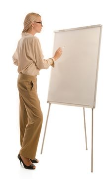 Woman In Glasses And Drawing Board Stock Photo