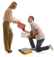 Free Man Helping Woman To Pickup Binders From Ground Stock Image - 20470711