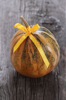 Free Pumpkin Decorated With Ribbon Stock Photos - 20471263