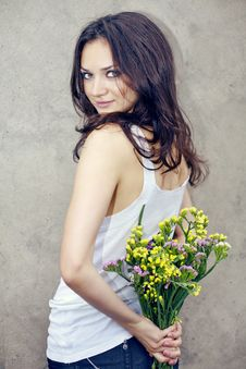 Free Woman With Wildflowers Stock Photos - 20471333