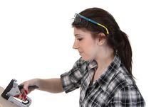 Free Girl With A Staple Gun Stock Photography - 20472032
